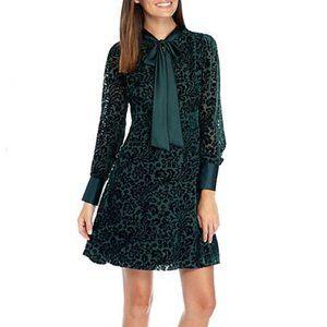 NWT Nanette Lepore Emerald Burnout Velvet Dress 14